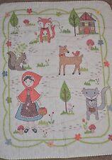 "Handmade Cross Stitch Baby Girl Quilt ""Little Red Riding Hood"" Shower Gift"