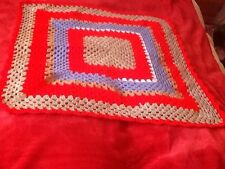 "31"" x 31"" HAND CRAFTED BLANKET USED YARN TO MAKE BLANKET"