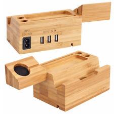 Support En Bois Station De Chargeur Dock En Bambou Pour Apple Watch Et Iphone