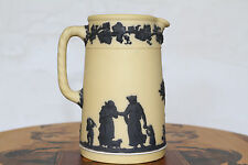 Antique Wedgwood Yellow Jasper Ware Tall Pitcher with Black Relief (c.1920)