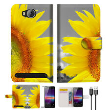 Sunflower Wallet TPU Case Cover For HUAWEI Y3 II 2 -- A012