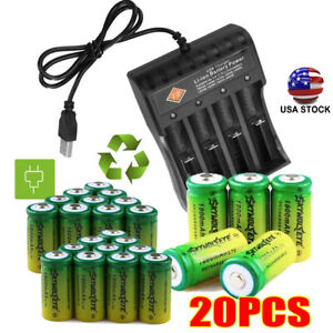 20PCS CR123A 1800mAh  Rechargeable Batteries 16340 3.7V Battery + USB Charger