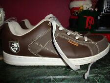 LEXANI 12M BROWN W/GOLD LEATHER AND BEIGE SKATE BOARD OXFORDS PRISTINE COND.