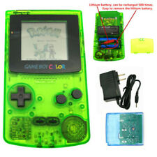 Clear Green Rechargeable Nintendo Game Boy Color GBC Console With Card & Charger