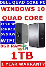 DELL FAST 780 COMPUTER PC QUAD CORE 8GB 1TB WIFI 1 YEAR WARRANTY WINDOWS 10