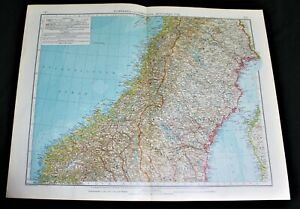 GERMAN ATLAS MAP PAGE PLATE OF CENTRAL NORWAY SWEDEN VINTAGE PRE WWI EARLY 1900s