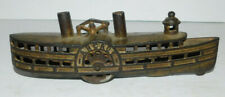 VINTAGE CAST IRON ARCADE PADDLE WHEEL BOAT OR STEAMSHIP BANK FREEPORT IL