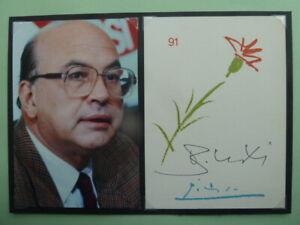 Bettino Craxi † 2000 (ITA), Briefkarte singiert m. Foto (15x23cm) Politik