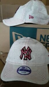 New York Yankees New Era Ditsy Print Pink & Oatmeal Kid's 9FORTY Adjustable Hat