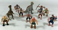 Vintage 2004 Miniature Plastic Caveman Dinosaur Rubber Toy Figure Lot of 12