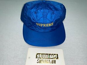 [PREOWNED] SUPREME QUILTED 5 6 PANEL HAT BOX LOGO CAMP CAP BLUE