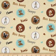 Disney Bambi Character Badges 100% cotton fabric by the yard