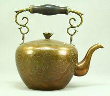! Antique Copper & Brass Chinese Export Tea Pot Teapot Kettle