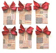 Fourth of July Decorations, Tags, Patriotic Tags, 6 Handmade Flag Tags
