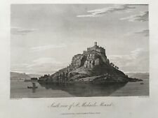 1813 Antique Print; St Michael's Mount, South View, Cornwall after Farington