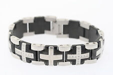 Shaquille O'Neal 18mm Two-tone Stainless .20ctw Genuine Diamond Cross Bracelet