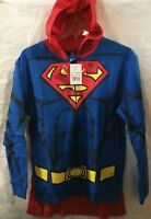 SUPERMAN Character Zip-Up Hoodie with Cape kids SZ Large NWT
