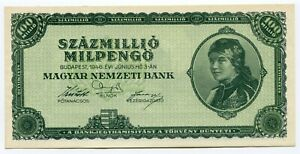 Hungary 1946 100 Million Mil Pengo Currency UNC Banknote = 100 Trillion Pengo
