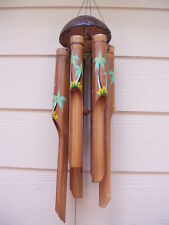 Bamboo Wind Chimes Painted Tropical Palm Trees Half Coco Top Tiki Bar FREE SHIP