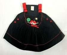 Vintage Infant Corduroy Dress with Red Flower Buttons Size 12 months