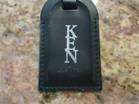 Authentic Louis Vuitton Large Black Leather Luggage Tag  Silver HW - Stamped KEN