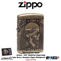 Zippo Armor Antique Brass Steampunk Pocket Lighter, MultiCut Engraving #29268