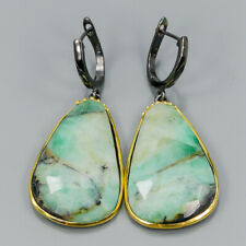 Vintage70ct+ Natural Emerald 925 Sterling Silver Earrings /E34396
