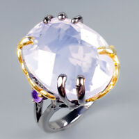 Handmade33ct+ Natural Lavender Amethyst 925 Sterling Silver Ring Size 8/R121421