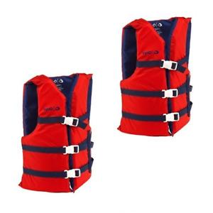 Life Jackets 2 Red Adult Type III Universal Boating Vest Preserver Ski Jacket