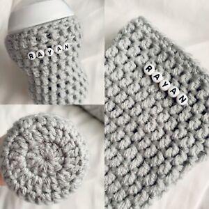 Baby Bottle Cover Personalised Crochet Handmade Tommie/Mam/ Doctor Brwn/ Avant
