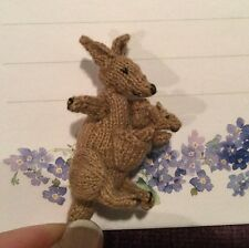 Adorable Hand Knitted Kangaroo & Joey Baby Toy IGMA Artisan Dollhouse Miniature