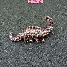 Betsey Johnson Inlaid Rhinestone Dinosaur Charm Brooch Pin