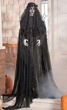 5-1/2 Ft Mourning Dead Ghost Woman in Black w/ Flashing Eyes Halloween Figure