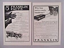 Franklin Motor Car LOT of 2 PRINT AD - 1908