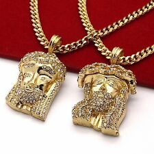 "Mens 14k Gold Plated High Fashion 2 pcs Cz Jesus Pendant 3mm 30"" 24"" Cuban Chain"