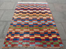 Old Traditional Hand Made Persian Oriental Gabbeh Rug Wool Colourful 190x137cm