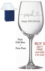 Personalised Engraved Wine Glass Birthday Gift 18th, 21st, 30th, 40th, boxed