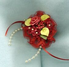 Barbie Doll Bride Bouquet - Red W/ Yellow Calla Lilies Red Lace Pearls & Ribbon