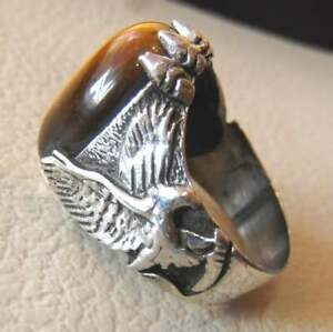Turkish Tiger's Eye 925 Sterling Silver Men's Ring Eagle Design Jewelry P1651