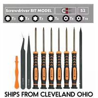 Screwdriver Set T3 T4 T5 T6 TR8 T10H Security Bits ESD Tweezer For XBOX PS3 PS4