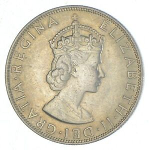 SILVER - WORLD Coin - 1964 Bermuda 1 Crown - World Silver Coin *834