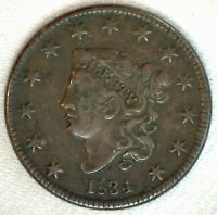 1834 Coronet Head US Large Cent Coin 1c US Coin XF Extra Fine Circulated