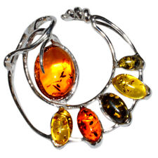 8.75g Authentic Baltic Amber 925 Sterling Silver Pendant Jewelry N-A333