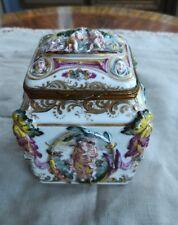 Antique Capodimonte Female Figures In Relief Naples Porcelain Box