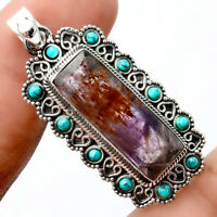 Cacoxenite Super 7 Mineral and Turquoise 925 Silver Pendant Jewelry AP64625
