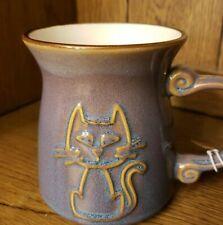 La Rochelle pottery Cat Mug. PURPLE IRRIDECSENT. HTF. GREAT VALENTINE'S GIFT