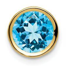 14k Yellow Gold 7mm Blue Topaz Bezel Pendant. Gem Wt- 1.6ct. Metal Wt-0.34g
