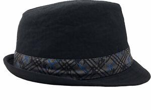 Black Fedora Style Hat Blue Black Crosshatching On Band Youth Size 4-16 B16-15