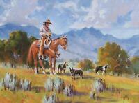 TOM HAAS (b1952) 'Sagebrush Scouts' oil 12x16 Arizona landscape horse dog cowboy