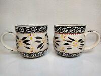 Set of 2 Temp-tations by Tara Old World Mugs Black Grey 12 oz cups Temptations